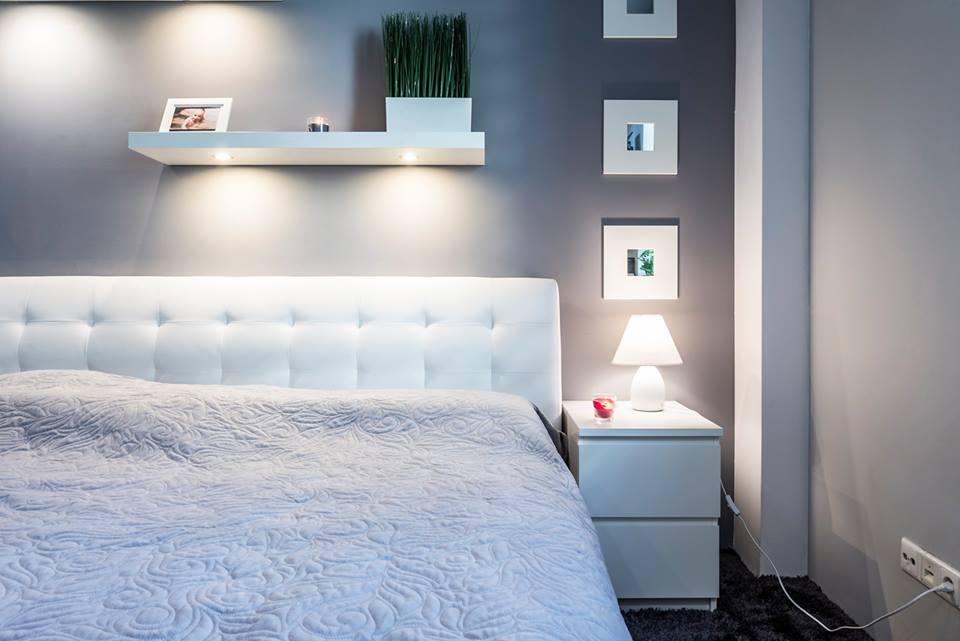 sypialnia białe łóżko Bella